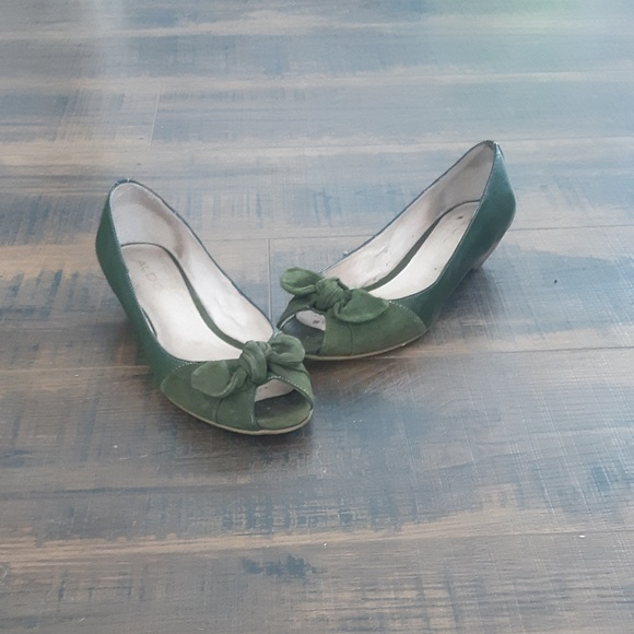 Green leather and suede shoes